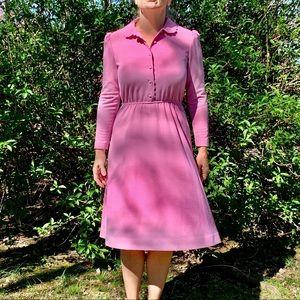 Vtg 70s Leslie Fay pink polyester knit dress